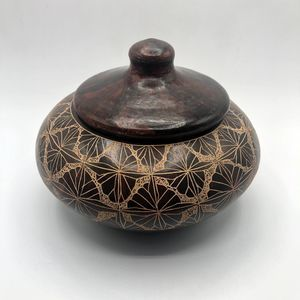 Redware Ceramic Brown Painted Vessel with Lid